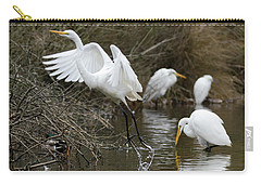 Carry-all Pouch featuring the photograph Egret Exit by George Randy Bass