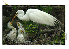 Majestic Great White Egret Family Carry-all Pouch by Bob Christopher