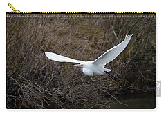 Carry-all Pouch featuring the photograph Egret In Flight by George Randy Bass