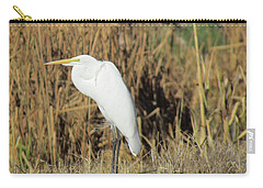 Egret In Grass Carry-all Pouch