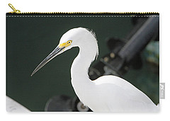 Carry-all Pouch featuring the pyrography Egret On The Pier by Shoal Hollingsworth