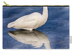 Egret Reflection On Blue Carry-all Pouch