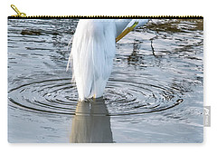 Egret Standing In A Stream Preening Carry-all Pouch