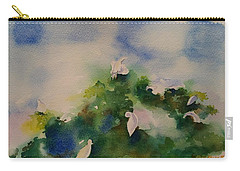 Egrets Impressionistic Watercolor Gift Carry-all Pouch by Geeta Biswas