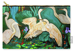 Egrets On Lotus Pond Carry-all Pouch by Jenny Lee