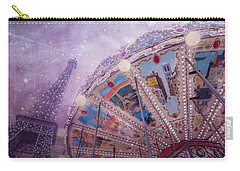 Carry-all Pouch featuring the photograph Eiffel Tower And Carousel by Clare Bambers