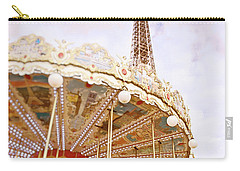 Carry-all Pouch featuring the photograph Eiffel Tower And Carousel by Ivy Ho