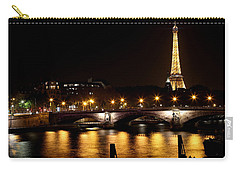 Carry-all Pouch featuring the photograph Eiffel Tower At Night 1 by Andrew Fare
