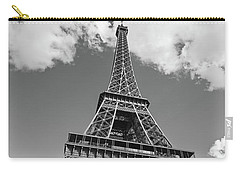 Eiffel Tower - Black And White Carry-all Pouch by Melanie Alexandra Price