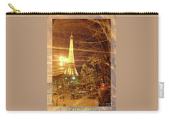 Eiffel Tower By Bus Tour Greeting Card Poster Carry-all Pouch by Felipe Adan Lerma