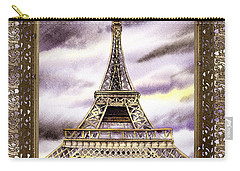 Carry-all Pouch featuring the painting Eiffel Tower Laces Iv  by Irina Sztukowski