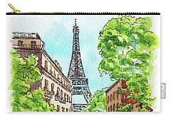 Carry-all Pouch featuring the painting Eiffel Tower Summer Paris Day by Irina Sztukowski
