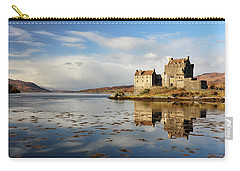 Carry-all Pouch featuring the photograph Eilean Donan - Loch Duich Reflection - Dornie by Grant Glendinning