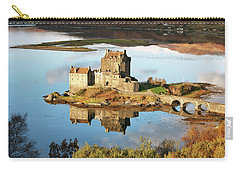 Carry-all Pouch featuring the photograph Eilean Donan - Loch Duich Reflection - Skye And Lochalsh by Grant Glendinning