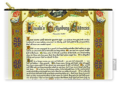 Carry-all Pouch featuring the painting Elaborate Victorian Gettysburg Address Illuminated Manuscript With Lincoln Portrait by Peter Gumaer Ogden