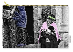 Carry-all Pouch featuring the photograph Elderly Beggar In Biblian II by Al Bourassa