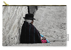 Carry-all Pouch featuring the photograph Elderly Beggar In Chordeleg by Al Bourassa
