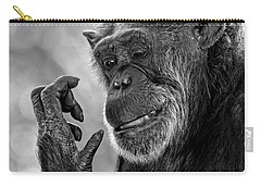 Elderly Chimp Studying Her Hand Carry-all Pouch