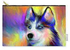 Electric Siberian Husky Dog Painting Carry-all Pouch by Svetlana Novikova