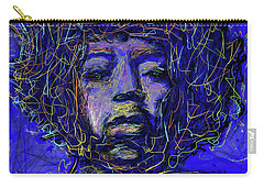 Carry-all Pouch featuring the mixed media Electrifying Hendrix by Eduardo Tavares