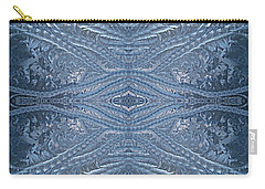 Carry-all Pouch featuring the photograph Elegant Blues Frosty Window Design by Joy Nichols