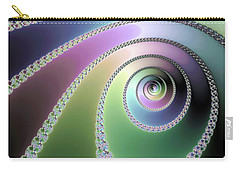 Carry-all Pouch featuring the digital art Elegant Fractal Spirals Green Purple Blue by Matthias Hauser
