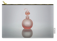 Carry-all Pouch featuring the photograph Elegant Frosted Pink Vintage Perfume Bottle by David and Carol Kelly