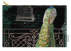Elegant Peacock Iron Fence W Vintage Scrolls 4 Carry-all Pouch by Audrey Jeanne Roberts