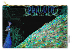 Elegant Peacock W Vintage Scrolls Typography 4 Carry-all Pouch by Audrey Jeanne Roberts