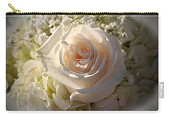 Elegant White Roses Carry-all Pouch by Cynthia Guinn