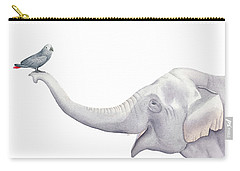 Elephant And Bird Watercolor Carry-all Pouch by Taylan Apukovska