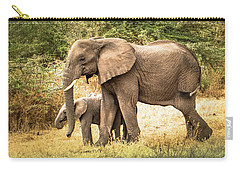 Elephant And Calf Carry-all Pouch by Janis Knight