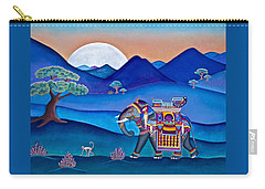 Elephant And Monkey Stroll Carry-all Pouch by Lori Miller