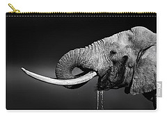 Elephant Bull Drinking Water Carry-all Pouch