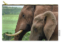 Carry-all Pouch featuring the photograph Elephant Couple Profile by Gaelyn Olmsted