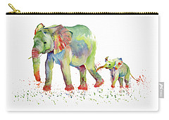 Elephant Family Watercolor  Carry-all Pouch