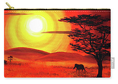 Elephant In A Bright Sunset Carry-all Pouch by Laura Iverson