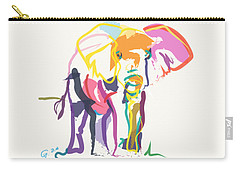 Elephant In Color Ecru Carry-all Pouch