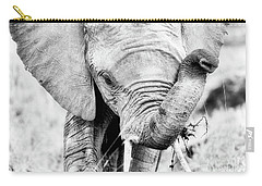 Elephant Portrait In Black And White Carry-all Pouch