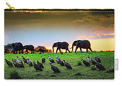 Elephants And Vultures  Carry-all Pouch by Janis Knight