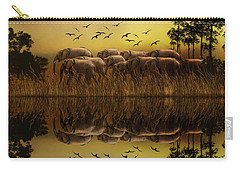 Carry-all Pouch featuring the photograph Elephants At Sunset by Diane Schuster
