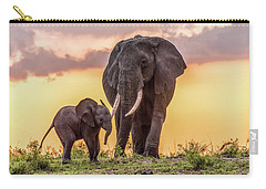 Elephants At Sunset Carry-all Pouch by Janis Knight
