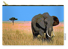 Carry-all Pouch featuring the mixed media Elephants by Charles Shoup