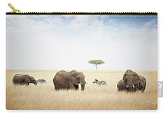 Elephants Grazing In Kenya Africa Carry-all Pouch