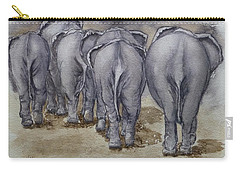 Carry-all Pouch featuring the painting Elephants Leaving...no Butts About It by Kelly Mills