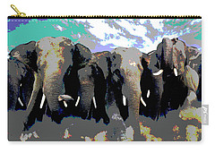 Carry-all Pouch featuring the mixed media Elephants On The Move by Charles Shoup