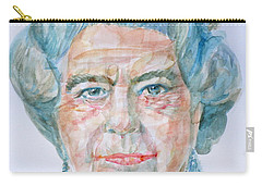 Carry-all Pouch featuring the painting Elizabeth II - Watercolor Portrait.2 by Fabrizio Cassetta