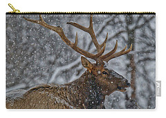 Elk Enjoying The Snow Carry-all Pouch by Michael Peychich