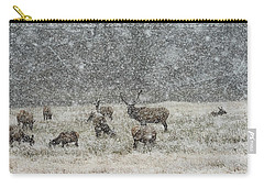 Elk Harem In Falling Snow Carry-all Pouch