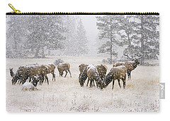 Elk In A Snow Storm - 1135 Carry-all Pouch